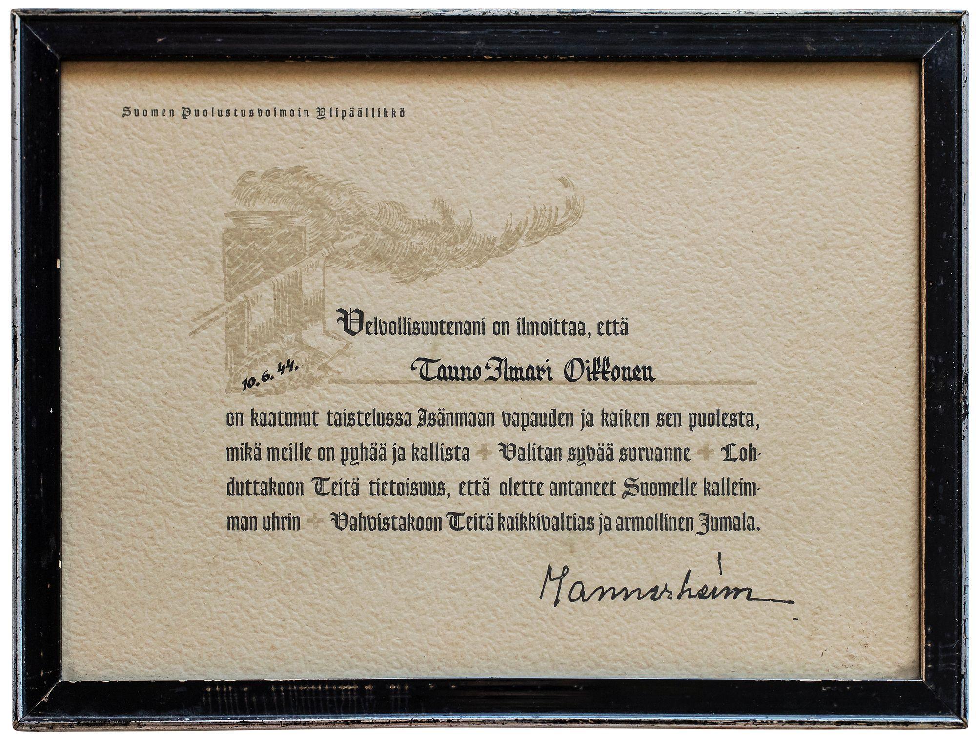 Mannerheimin kirje oli mummollani seinällä kehystettynä.