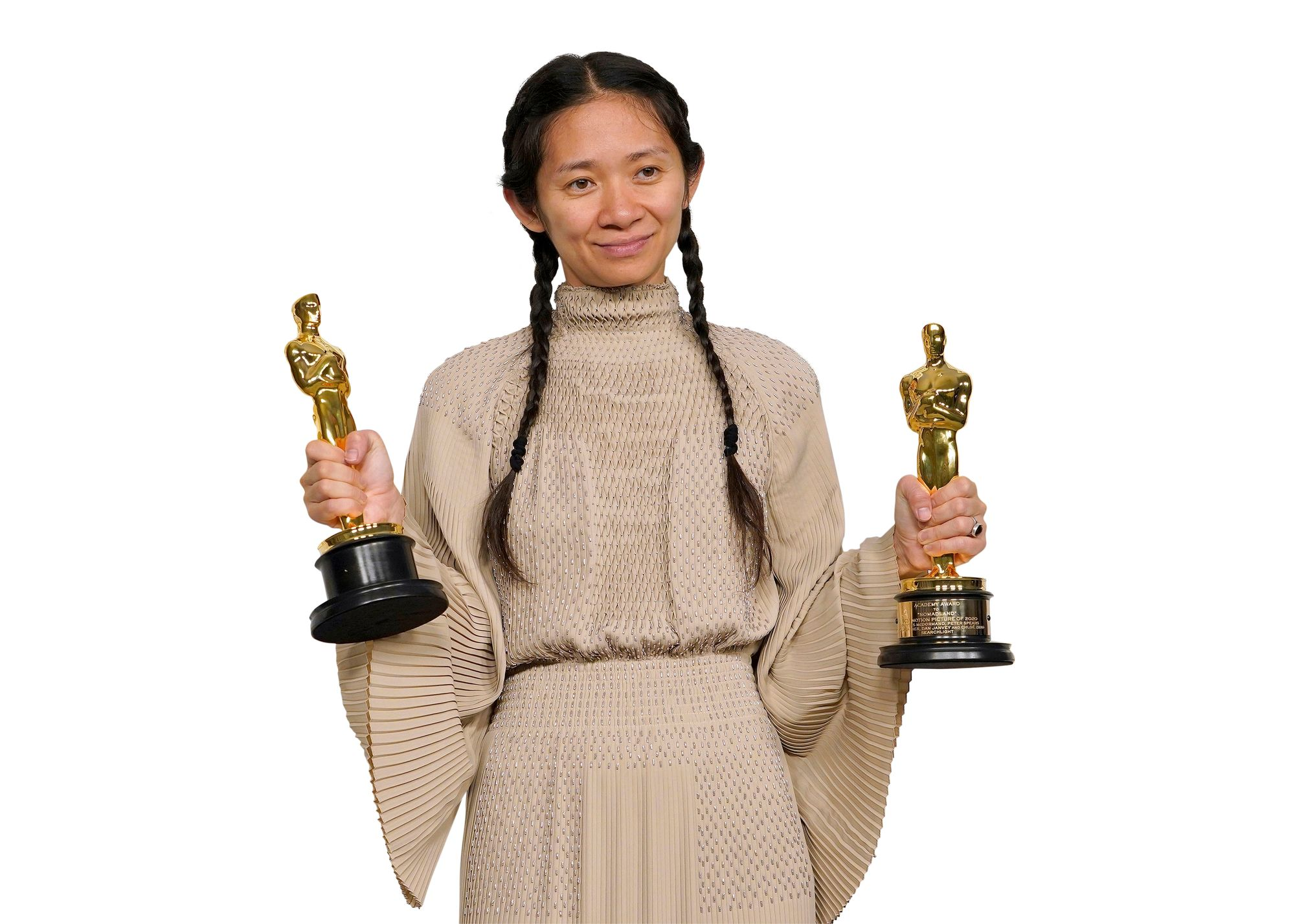 Ohjaaja Chloé Zhao teki Oscar-historiaa: hän oli vasta toinen nainen ja ensimmäinen aasialaissyntyinen nainen, joka palkittiin parhaasta ohjauksesta. © AP / MEGA / The Mega Agency / MVPhotos