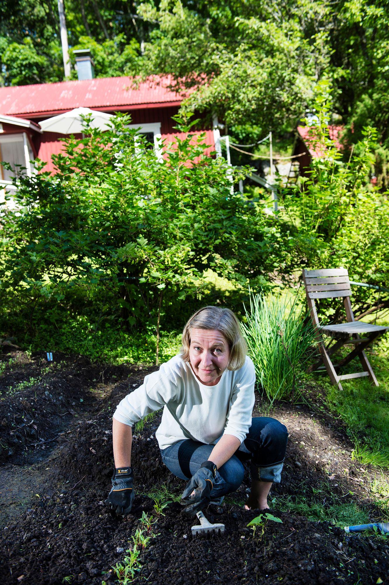Raija teki pihalle pienen kasvimaan, jossa hän kasvattaa salaattia, yrttejä ja perunoita. © Ari Heinonen/Otavamedia