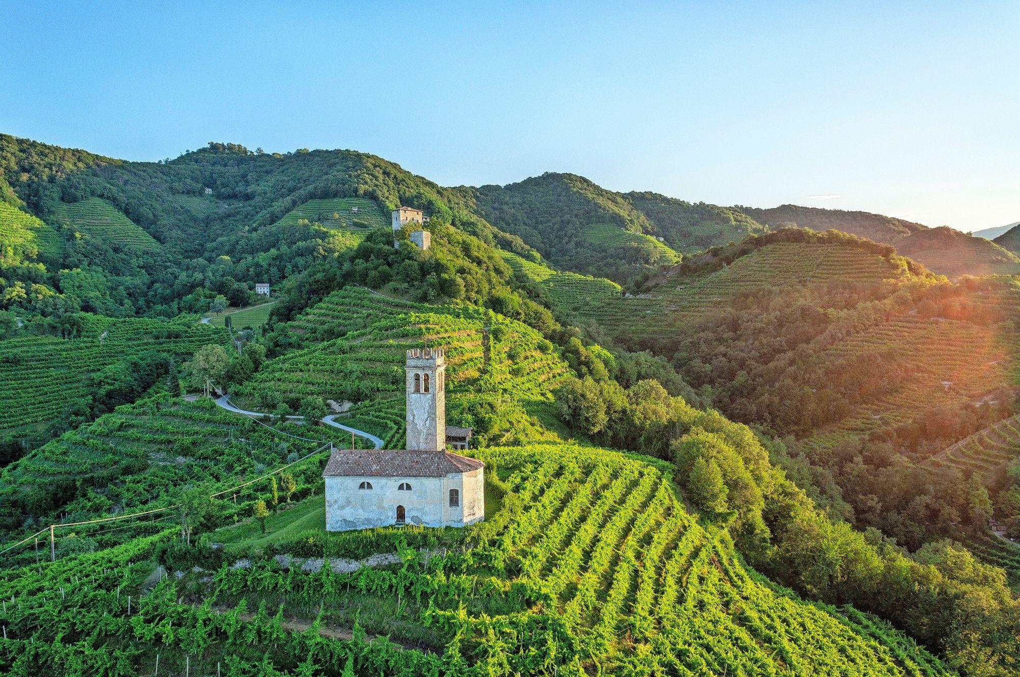 Trevison maakunnassa sijaitseva Valdobbiadene ja sen lähiseutu on Italian arvostetuinta prosecco-aluetta. © Arcangelo Piai
