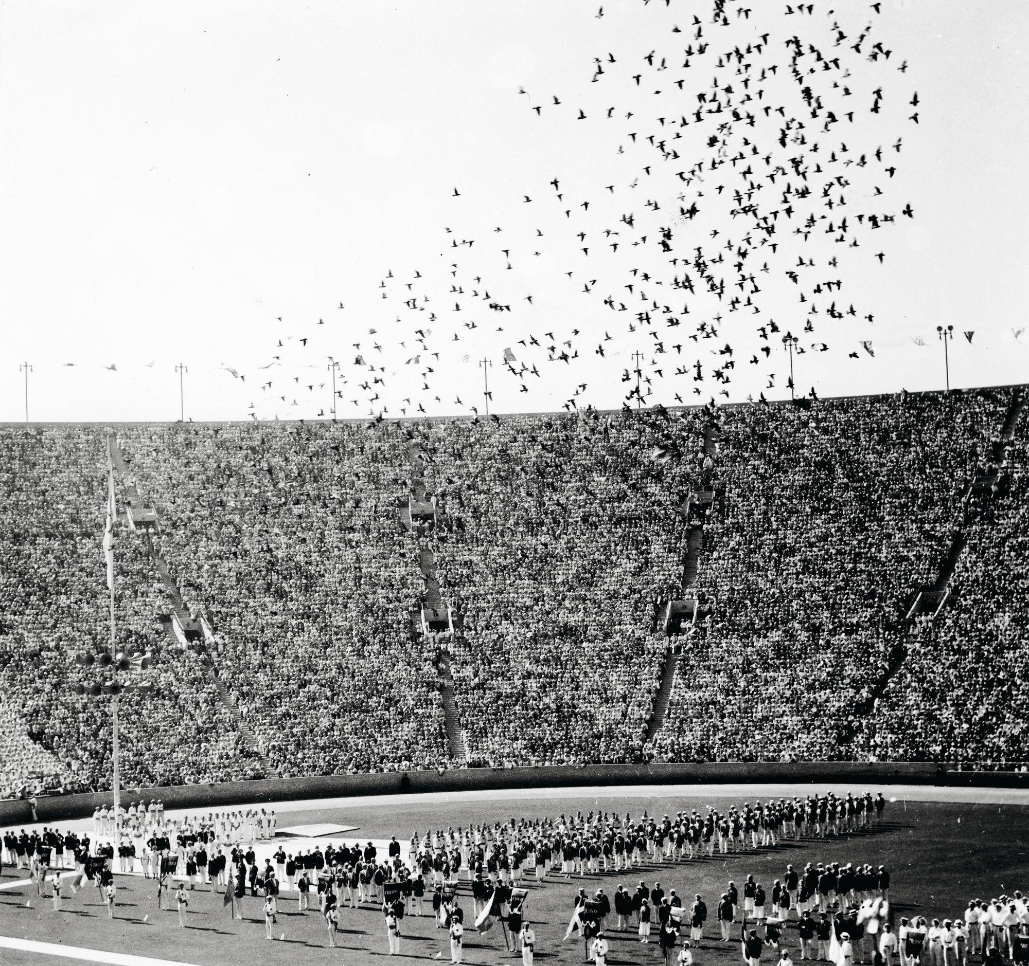 Kyyhkysparvi päästettiin lentoon Los Angelesin olympiakisojen avajaisissa. Rauhaa symboloiva ele toteutettiin ensi kerran Antwerpenin olympialaisissa vuonna 1920. © Suomen Urheilumuseo