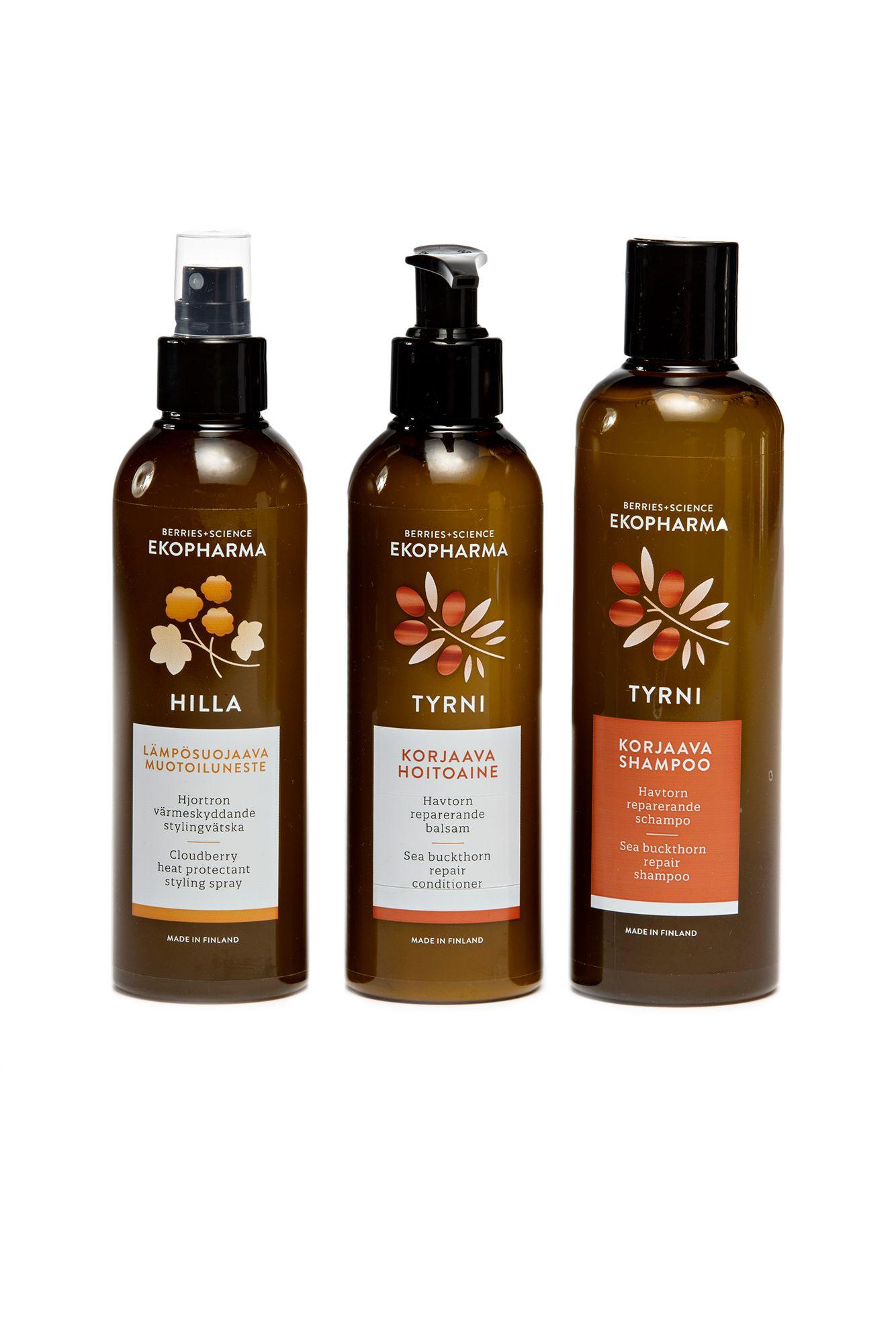 Kotimaisen Ekopharman hiuksia korjaava Tyrni-sampoo 250 ml 21€ ja -hoitoaine 200 ml 22,50 € sekä lämpösuojaava ja kiiltoa tuova Hilla-muotoiluneste 200 ml 18,90 €.