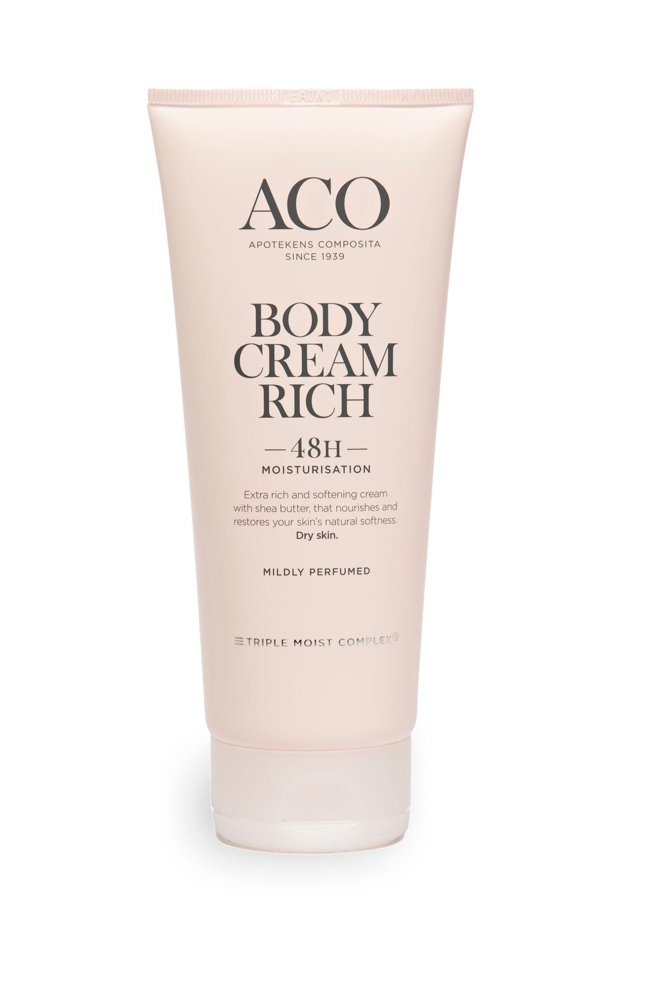 Sheavoita sisältävä Aco Body cream rich kosteuttaa kesän kuivattamaa kehoa. 200 ml 8,90 €.