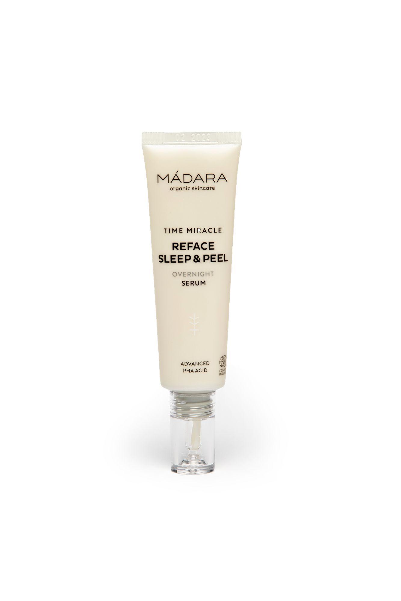 Kevyesti kuoriva Mádaran Time Miracle Reface sleep & peel auttaa väsymyksen merkkeihin. 30 ml 36 €.