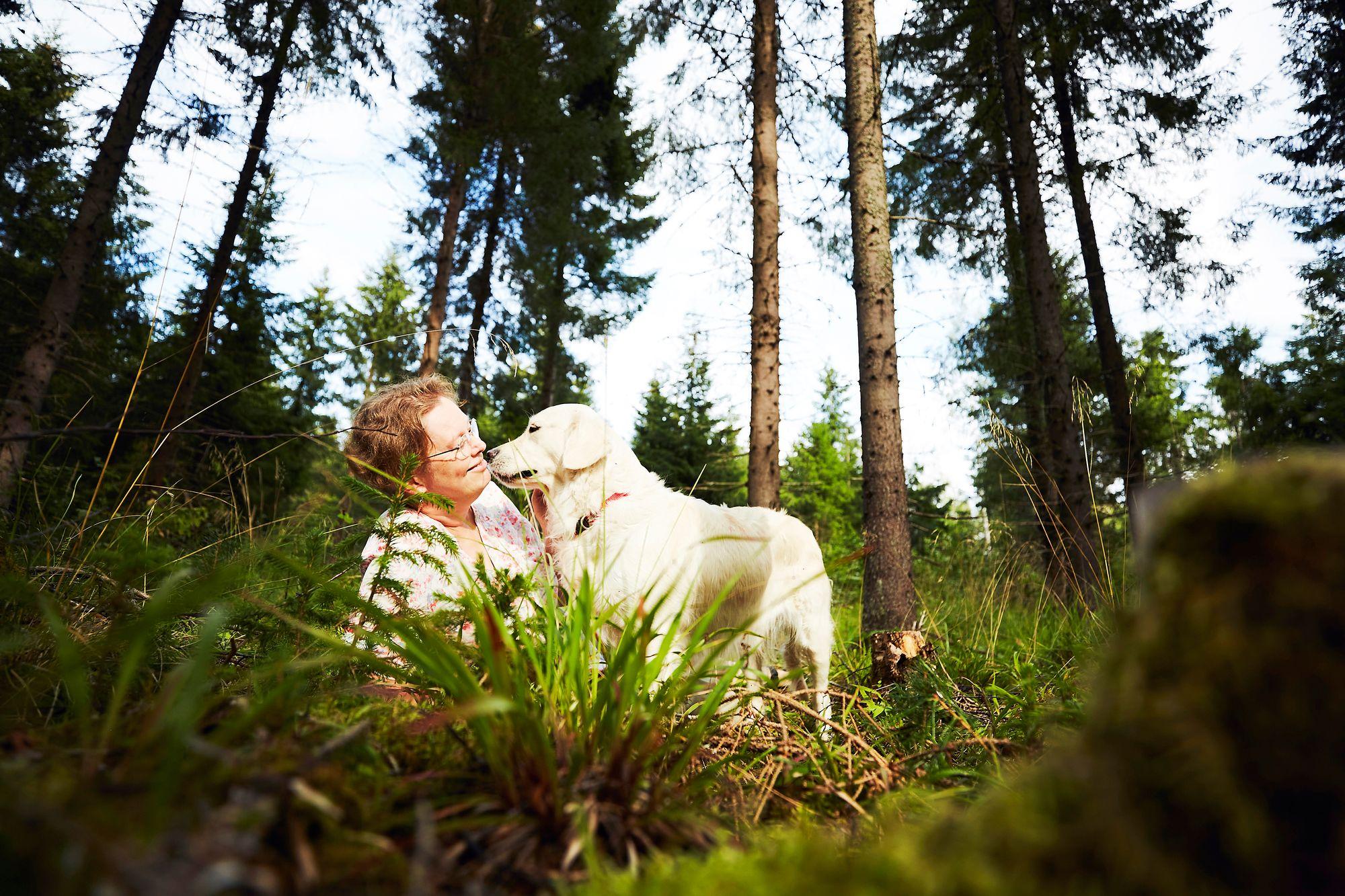 Petterssonien Maya-koirakin nauttii metsän ihmeistä. © Sara Pihlaja