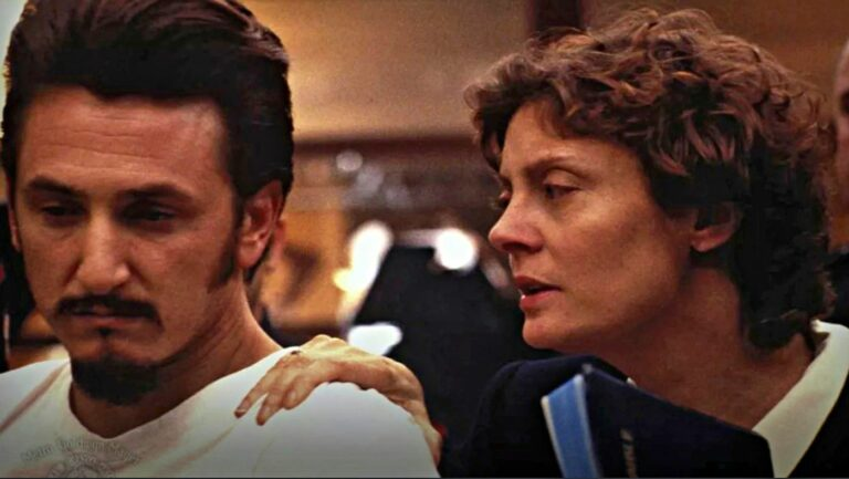 Tuimailmeinen Sean Penn on kuolemaantuomittu murhaaja Matthew Poncelet, jota tukemaan saapuu Susan Sarandonin näyttelemä sisar Helen Prejean. Sarandon voitti roolistaan parhaan naispääosan Oscarin.  © Fox