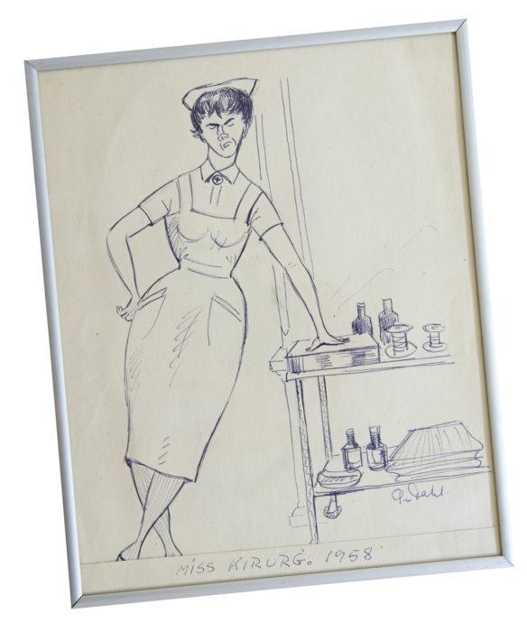 Per Dahlin vanhoissa piirroksissa seikkailee sairaanhoitaja Miss Kirurgi.
