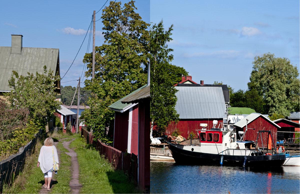 Kiemurainen kinttupolku risteilee punamullattujen talojen välissä.  Suojaisaan satamaan on helppo rantautua.